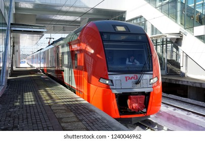 24 March 2018 Moscow, Russia The Lastochka train from perón's platform Vladykino Moscow Central ring