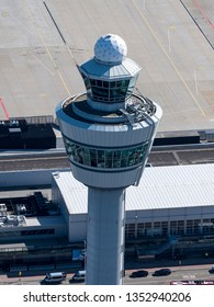 24 March 2019, Amsterdam Holland. Aerial view of control tower at Schiphol Airport.