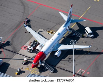 24 March 2019, Amsterdam, Holland. Aerial view of airplane Boeing 787 Dreamliner of Norwegian Airlines at Schiphol International Airport. At the tail of the aircraft a painting of Rosalio de Castro.