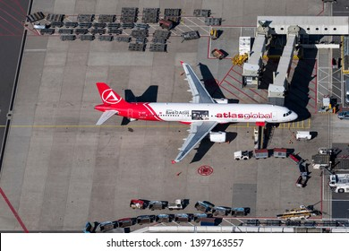 24 March 2019, Amsterdam, Holland. Aerial view at Schiphol International Airport of Turkish Atlas Global Airbus A321 at the gate. Registration TC-ATF.