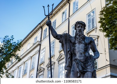 24 May 2018 - Lviv, Ukraine: Monument to Poseidon in Lviv. Sculpture of Neptune in Lviv.