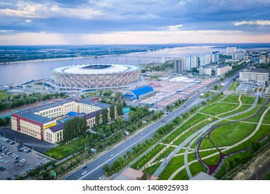 24 may 2019, Volgograd, Russia. FIFA World Cup 2018 football stadium Volgograd arena aerial view in the cloudy weather/