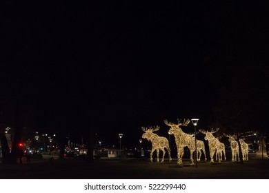 24 November 2016. The Christmas Elks has been lit up in Stockholm and are coming in patrol