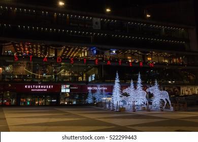 24 November 2016, Stockholm Stadsteater at Sergels Torg in the center of Stockholm. Christmas lights has been lit.