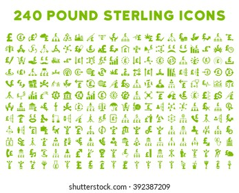 240 British Business icons. Style is eco green flat symbols on a white background. Pound sterling icon is basic element.