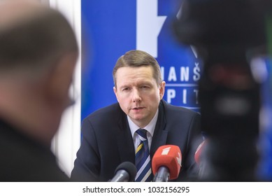 24.02.2018. RIGA, LATVIA.  Press conference about progress regarding the ECB (European Central Bank) and FCMC (Financial and Capital Market Commission) decision on ABLV Bank AS. in Riga, Latvia
