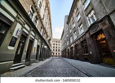 24-03-2020 Riga, Latvia. Empty city street in Europe.