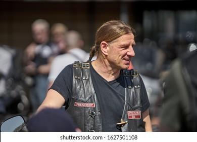24-04-2019 Riga, Latvia. Biker portrait of biker man in black leather jacket.