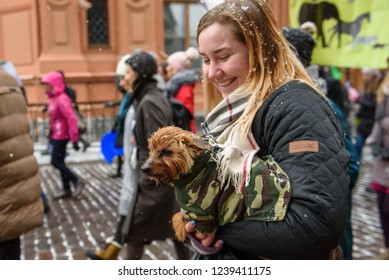 "24.11.2018. RIGA, LATVIA. Focus on foreground. Dog in a winter jacket at owner's hands, during ""March for animals"" in Riga, Latvia. The biggest animal advocacy event in the history of Latvia."