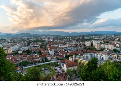 24.5.2019 Ljubljana Slovenia: Ljubljana, the capital of Slovenia, viewed from Ljubljana Castle. At the sunset