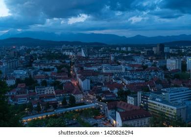 24.5.2019 Ljubljana Slovenia: Ljubljana, the capital of Slovenia, viewed from Ljubljana Castle. At blue hour