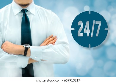24/7 all day all night, full time, nonstop service concept. Businessman silhouette in bacground.