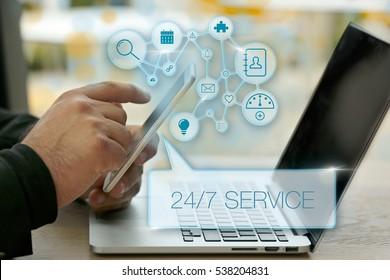 24/7 Service, Business Concept
