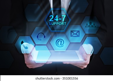 24-7 Support icon on virtual screen. business concept.