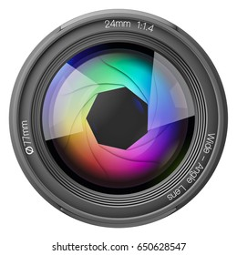 24mm lens in front of a white background 3d rendering.