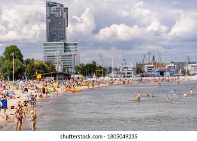 24th August, 2020 - Beach at Baltic Sea in Gdynia (Poland)