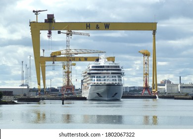 24th August 2020, one of three Viking Cruise ships in for repair at Harland and Wolff shipyard, Belfast, N.Ireland.  Towering above are the two famous gantry cranes, the mighty Samson and Goliath