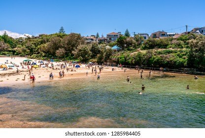 24th December 2018, Clovelly Sydney Australia: view of Clovelly beach full of people in Sydney NSW Australia