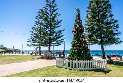 24th December 2018, Sydney NSW Australia : Christmas tree on the foreshore of Coogee beach in Sydney NSW Australia