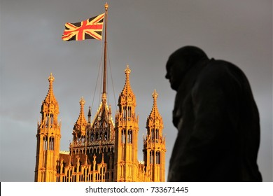 24th June, 2016 Westminster, London. The statue of Winston Churchill stands in front of the Palace of Westminster the day after the Brexit decision.