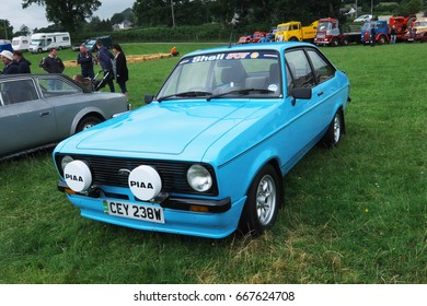24th June 2017- A classic Ford Escort at a vintage vehicle show in Nantgaredig near Carmarthen, Carmarthenshire, Wales, UK.