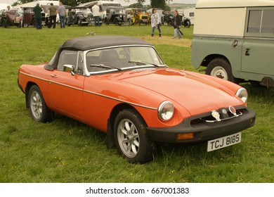 24th June 2017- A classic MGB roadster at a vintage vehicle show in Nantgaredig near Carmarthen, Carmarthenshire, Wales, UK.