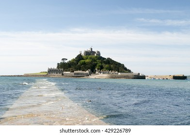 24TH MAY 2016, ST. MICHAELS MOUNT, MARIZION, CORNWALL, UK. St. Michaels Mount Island and Castle at low tide.
