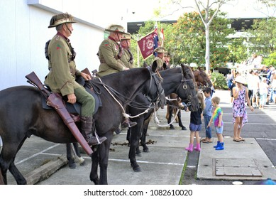 25 April 2018. Cavalry or horsemen or lancers at ANZAC Day parade at Coffs Harbour in Australia. Veterans mounted on horse backs to honor soldiers of Australian and New Zealand Army Corps.