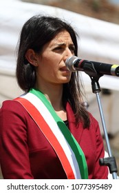 25 April 2018 - Rome, Italy - 25 April 2018 - Rome - Italy -The mayor of Rome Virginia Raggi at Porta San Paolo on the stage of the Anpi for the Liberation Day celebration