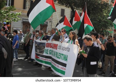 25 April 2018 - Rome, Italy -  Palestinian associations are parading at Porta San Paolo on the stage of the Anpi for the Liberation Day celebration