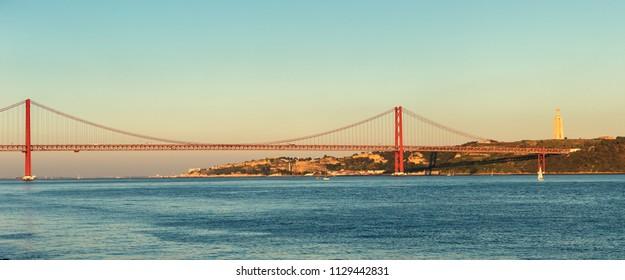 The 25 april bridge (Ponte 25 de abril) in Lisbon Portugal