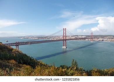 The 25 April bridge (Ponte 25 de Abril). Lisbon, Portugal
