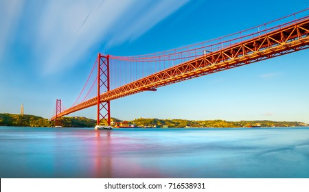 The 25 April bridge (Ponte 25 de Abril) is a steel suspension bridge located in Lisbon, Portugal, crossing the Targus river.  It is one of the most famous landmarks of the region.