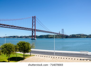 25 de Abril bridge, Tage river, Cristo Rei, Lisbon, Portugal