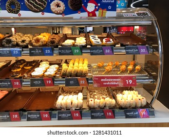 25 Dec 2018; Nonthaburi Thailand: Donut showcase at Mister Donut, Coffee and Bakery shop