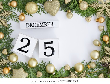 25 december perpetual calendar Christmas greeting card design with copy space