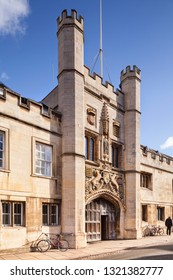 25 February 2015: Cambridge, UK - The gateway of Christ's College in St Andrew's Street.
