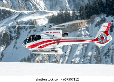 25 February 2017 3A-MFC Airbus helicopter - Eurocopter EC130 Heli Air Monaco departed from Courchevel Heliport, France. It is used to transport people for the winter holidays.