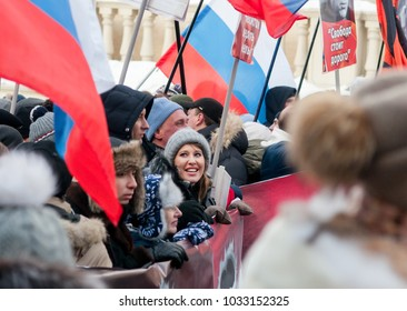 25 FEBRUARY 2018, MOSCOW, RUSSIA. Candidate for president Ksenia Sobchak during the procession in memory of Boris Nemtsov