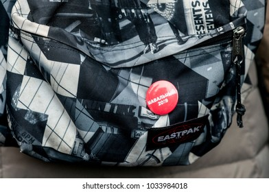 25 FEBRUARY 2018, MOSCOW, RUSSIA. Campaign of Navalny badge on a backpack closeup detail