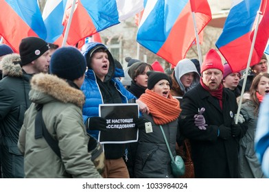 25 FEBRUARY 2018, MOSCOW, RUSSIA. People during the protest in memory of Boris Nemtsov