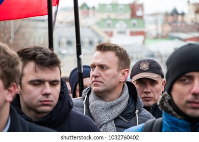 25 February 2018, RUSSIA, MOSCOW. Alexey Navalny on the march of the memory of Boris Nemtsov in the center of Moscow, The Boulevard Ring, Russia.