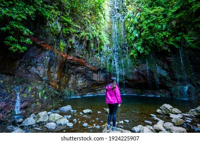 25 Fontes Waterfall - Hiking Levada trail in Laurel forest at Rabacal - Path to the famous Twenty-Five Fountains in beautiful landscape scenery - Madeira Island, Portugal