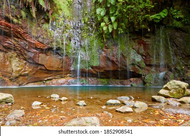 The 25 Fontes waterfall and natural pool. Hiking point, located in Rabaçal, Paul da Serra on Madeira Island.