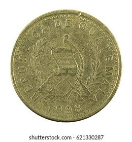 25 guatemalan centavo coin (1998) reverse isolated on white background