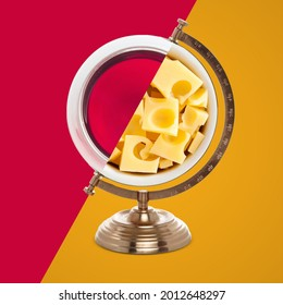 25 July, Wine and Cheese Day, world Wine and Cheese Day, international Wine and Cheese Day, a glass of Wine and Cheese on top of the globe stand