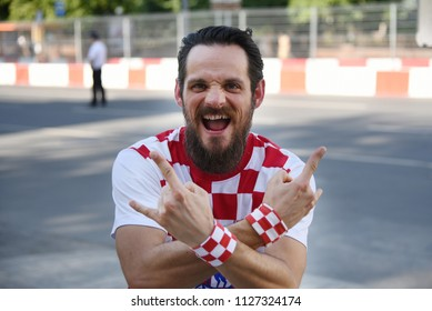 25 June 2018. Rostov-on-Don. Russia. Croatian man football fan supports the national team of Croatia at the World Cup. Before the game in Sochi.