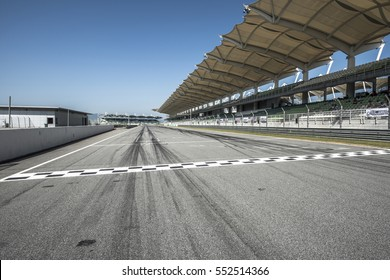 25 Mar 2016, kuala Lumpur Sepang Malaysia. Starting & finishing point of a race track with patron grandstand alongside, Sepang F1 circuit malaysia