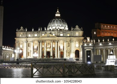 25 March 2018. Piazza San Pietro Vatican the center of the Roman Catholic Church photo  made in the middle of the night. Vatican is a suveran country. Vatican, Rome, Italy.