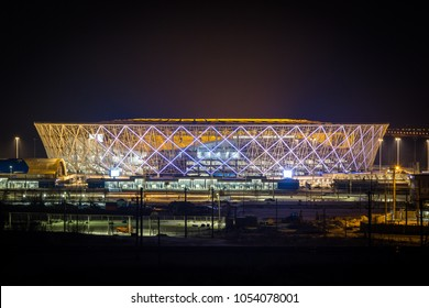 "25 March, 2018. Volgograd, Russia. Night illumination of the new football stadium ""Volgograd Arena"", building for the FIFA World Cup 2018"